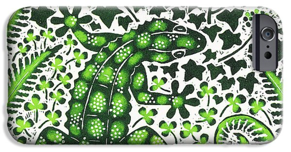 Animal Drawings iPhone Cases - Green Gecko iPhone Case by Nat Morley