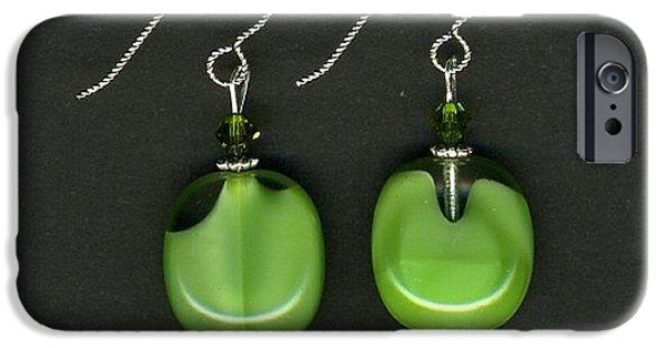 Chicago Jewelry iPhone Cases - Green Glass Bead Earrings-jewelry iPhone Case by Althea Morgan-Campbell