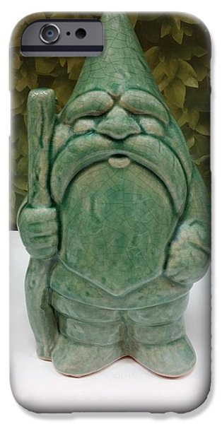 Child Sculptures iPhone Cases - Green Gnome iPhone Case by Rob Hans