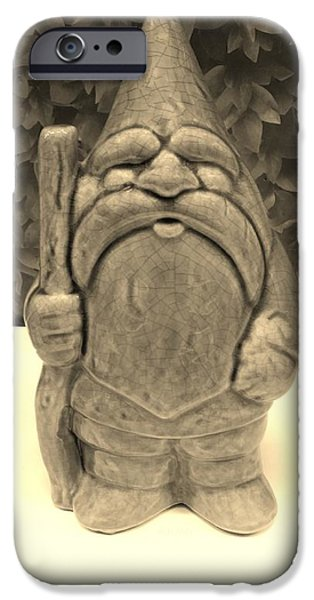 Child Sculptures iPhone Cases - Green Gnome Sepia iPhone Case by Rob Hans