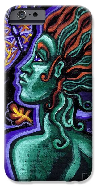 Cosmic Paintings iPhone Cases - Green Goddess With Butterfly iPhone Case by Genevieve Esson