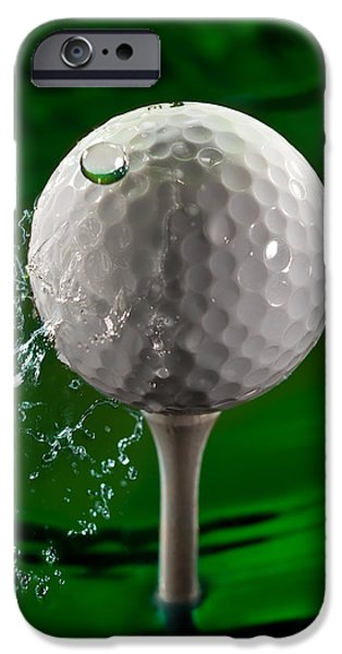 Golfer iPhone Cases - Green Golf Ball Splash iPhone Case by Steve Gadomski