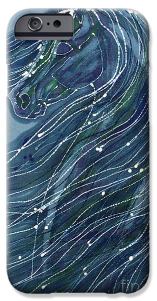Horse Tapestries - Textiles iPhone Cases - Green Horse with Flying Mane iPhone Case by Carol  Law Conklin