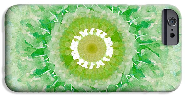 Fractal iPhone Cases - Green Mandala- Abstract Art by Linda Woods iPhone Case by Linda Woods