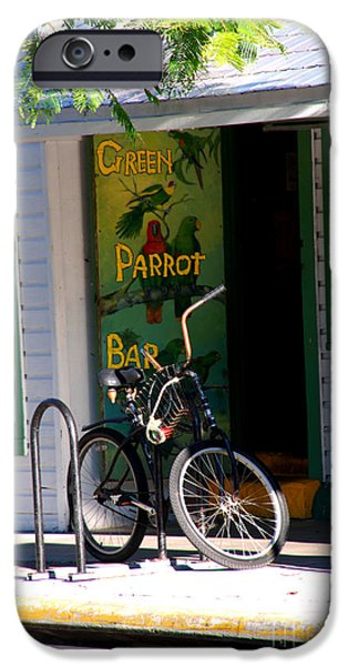 Green Parrot Bar Key West iPhone Case by Susanne Van Hulst