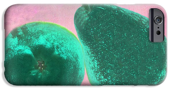 Pears Digital iPhone Cases - Green Pears on Pink iPhone Case by Heather Kirk