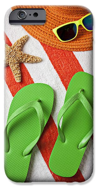 Beach Towel iPhone Cases - Green Sandals On Beach Towel iPhone Case by Garry Gay