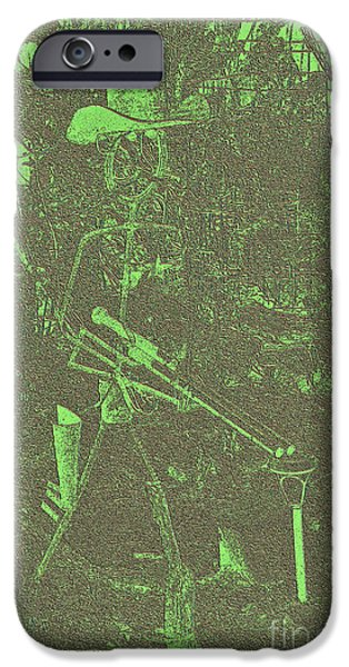 Universities Tapestries - Textiles iPhone Cases - Green Sheriff iPhone Case by Edna Weber