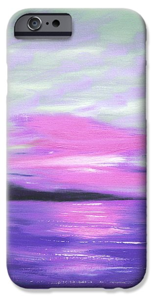 Green Skies and Purple Seas Sunset iPhone Case by Gina De Gorna