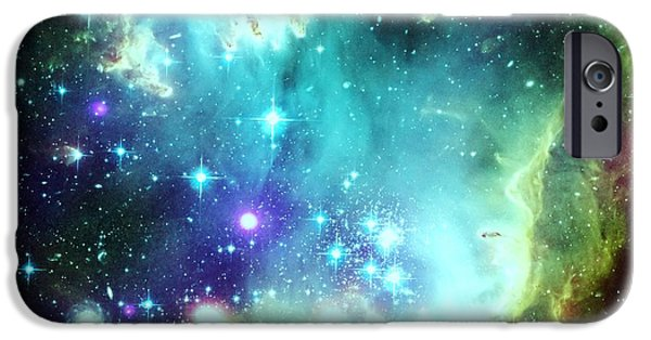 Constellations iPhone Cases - Green Space iPhone Case by Johari Smith