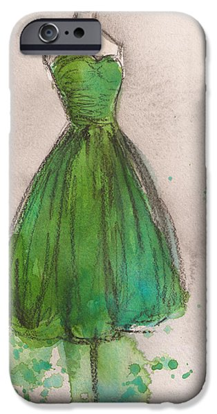 Green Strapless Dress iPhone Case by Lauren Maurer