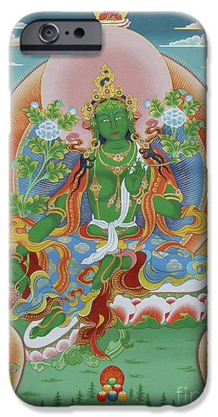 Sun Rays Paintings iPhone Cases - Green Tara with Retinue iPhone Case by Sergey Noskov