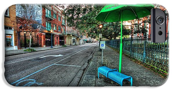 Micdesigns iPhone Cases - Green Umbrella Bus Stop iPhone Case by Michael Thomas
