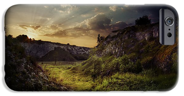 Miracle iPhone Cases - Green valley at dawn iPhone Case by Jaroslaw Blaminsky