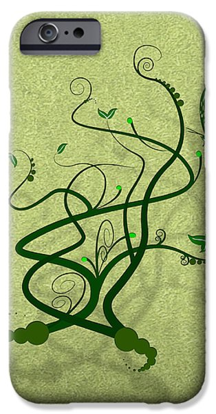 Texture iPhone Cases - Green Vine and Butterfly iPhone Case by Svetlana Sewell