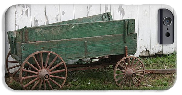 Wooden Wagons iPhone Cases - Green Wagon iPhone Case by Lauri Novak