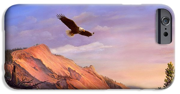 American Eagle Paintings iPhone Cases - Greeting Card - Flying American Bald Eagle Mountain Landscape Painting  iPhone Case by Walt Curlee