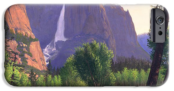 Park Scene Paintings iPhone Cases - Greeting Card - Mountain Waterfall and Stream WesternLandscape iPhone Case by Walt Curlee