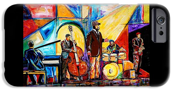 Jacob Lawrence iPhone Cases - Gregory Porter and Band iPhone Case by Everett Spruill