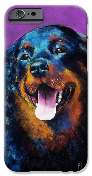 Rottweiler iPhone Cases - Gretchen iPhone Case by Frances Marino
