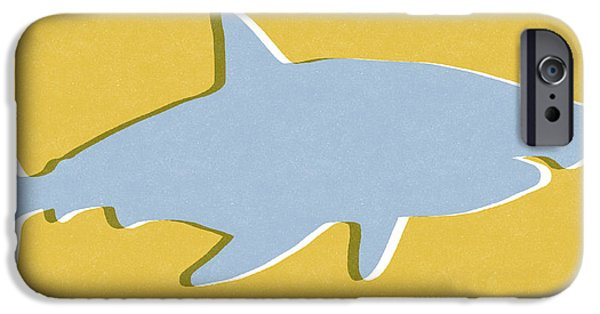 Fish Mixed Media iPhone Cases - Grey and Yellow Shark iPhone Case by Linda Woods