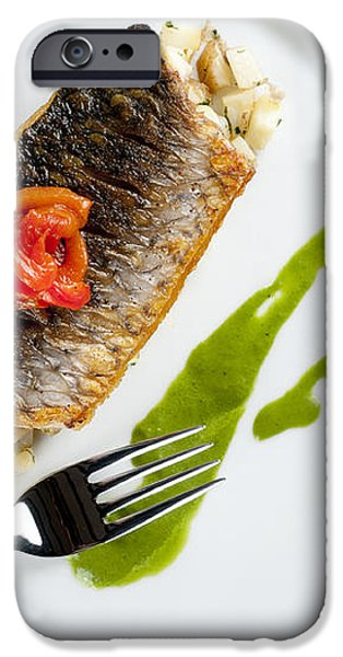 GREY MULLET WITH WATERCRESS SAUCE presented on a square white plate with cutlery and napkin iPhone Case by Andy Smy