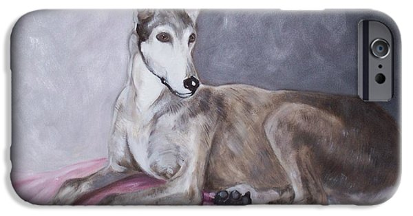 Rescued Greyhound iPhone Cases - Greyhound at Rest iPhone Case by George Pedro