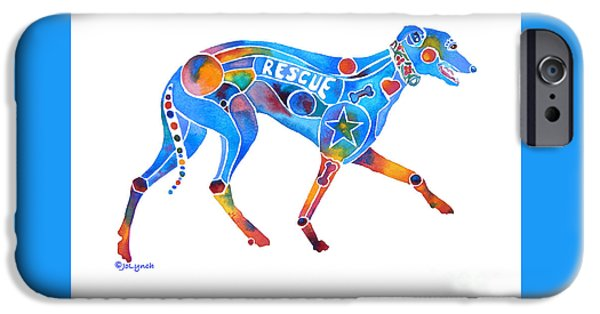 Rescued Greyhound iPhone Cases - Greyhound Rescue GFFL iPhone Case by Jo Lynch