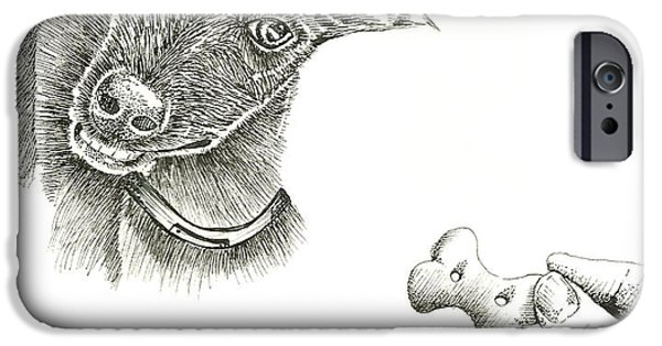 Black Dog iPhone Cases - Greyhound with a Treat iPhone Case by Sharife Gacel