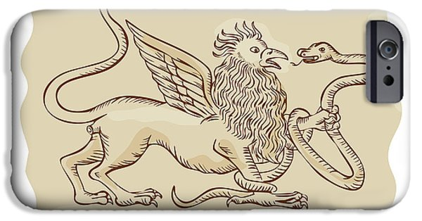 Serpent iPhone Cases - Griffin Fighting Snake Side Etching iPhone Case by Aloysius Patrimonio