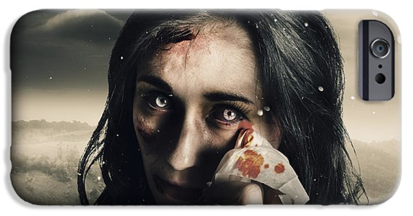 Anguish iPhone Cases - Grim face of horror crying tears of blood iPhone Case by Ryan Jorgensen