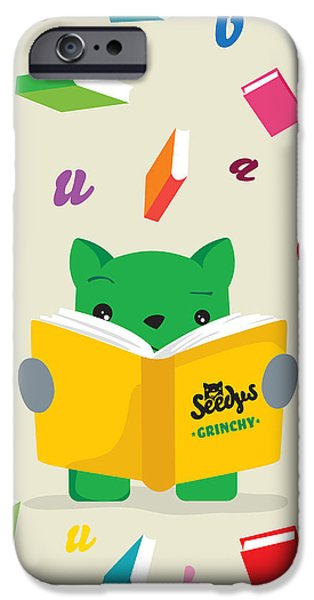 Child Digital iPhone Cases - Grinchy and Books iPhone Case by Seedys
