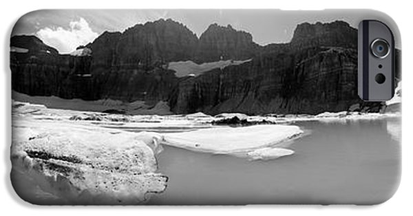 Snow iPhone Cases - Grinnell Glacier Panorama iPhone Case by Sebastian Musial