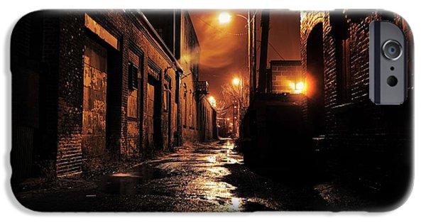 Asphalt iPhone Cases - Gritty Dark Urban Alleyway iPhone Case by Denis Tangney Jr