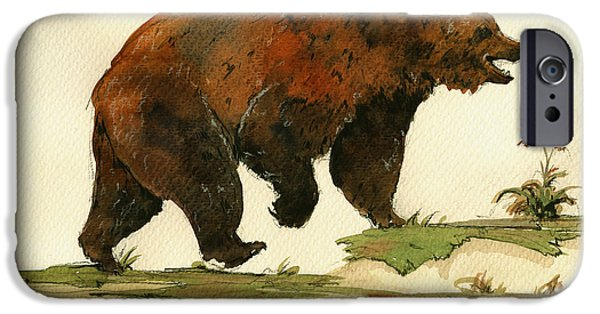 Grizzly iPhone Cases - Grizzly bear art iPhone Case by Juan  Bosco