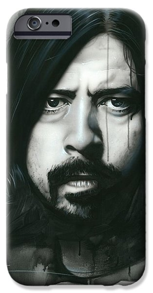 Dave Grohl iPhone Cases - Grohl in Black iPhone Case by Christian Chapman Art