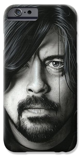 Dave Grohl Framed Prints iPhone Cases - Grohl in Black II iPhone Case by Christian Chapman Art