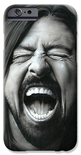 Dave Grohl Framed Prints iPhone Cases - Grohl in Black III iPhone Case by Christian Chapman Art