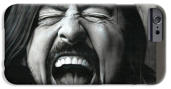 Dave Grohl iPhone Cases - Grohl in Black III iPhone Case by Christian Chapman Art