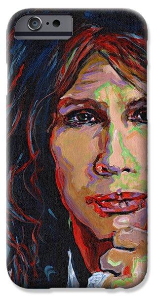 Steven Tyler Paintings iPhone Cases - Grooviest Rocker Alive Steven Tyler iPhone Case by Tanya Filichkin