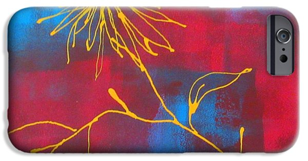 Business Paintings iPhone Cases - Groovy Yellow Flower iPhone Case by Louise Adams