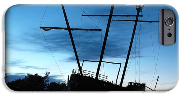 Brig iPhone Cases - Grounded Tall Ship Silhouette iPhone Case by Oleksiy Maksymenko