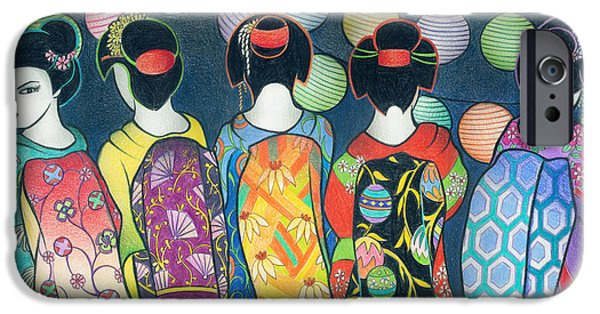 Sun Rays Drawings iPhone Cases - Group of Geishas iPhone Case by McKenna Sato