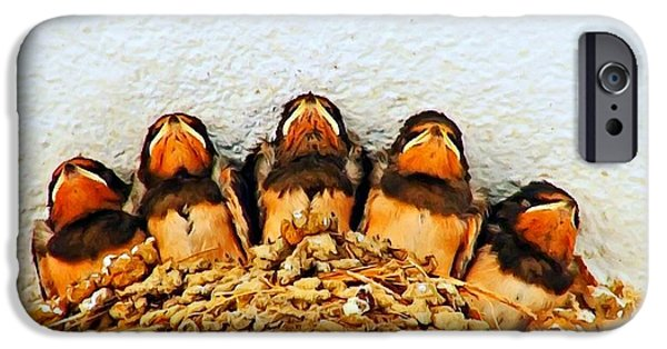 Barn Swallow iPhone Cases - Group of young swallows in the nest digitally painted iPhone Case by Ken Biggs