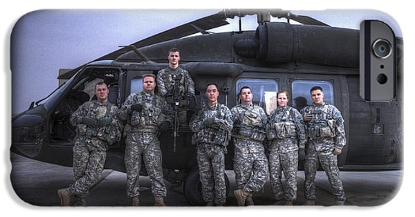 Iraq iPhone Cases - Group Photo Of Uh-60 Black Hawk Pilots iPhone Case by Terry Moore