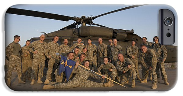Iraq iPhone Cases - Group Photo Of U.s. Soldiers In Front iPhone Case by Terry Moore