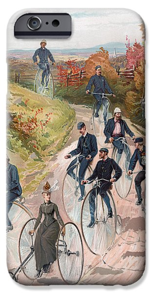 Cycle iPhone Cases - Group riding penny farthing bicycles iPhone Case by American School