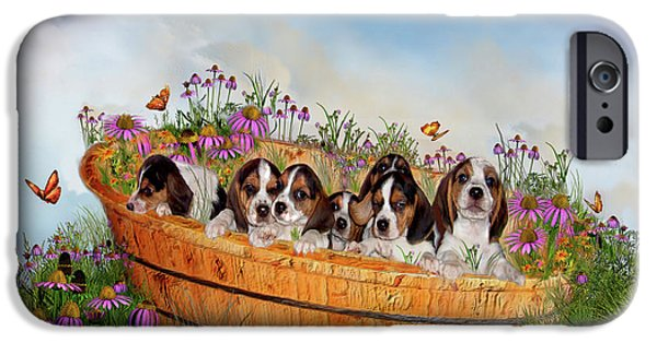 Doggie Art iPhone Cases - Growing Puppies iPhone Case by Carol Cavalaris