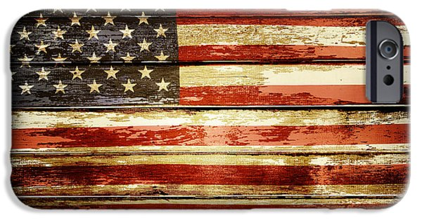 Stripe.paint iPhone Cases - Grunge American flag iPhone Case by Les Cunliffe