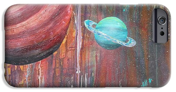 Gloss Varnish iPhone Cases - Grunge Planets iPhone Case by Brittany Houchin